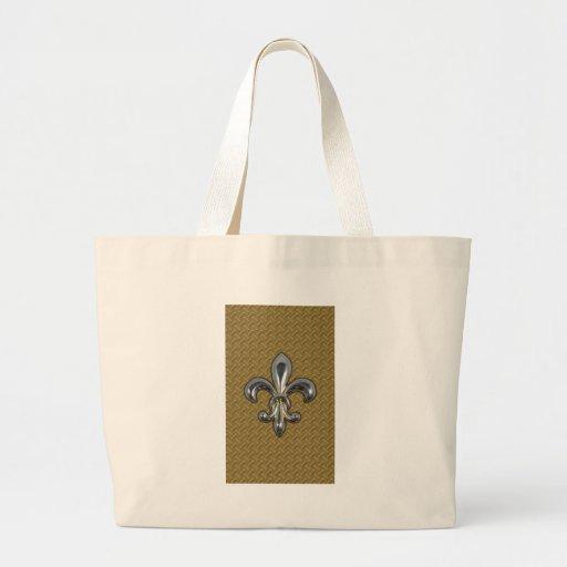 Silver Gold Fleur De Lis New Orleans Tote Bag