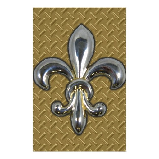 Silver Gold Fleur De Lis New Orleans Personalized Stationery