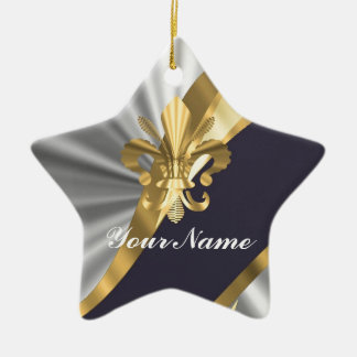 Silver & gold Fleur dy Lys Christmas Ornament