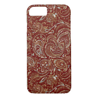 Silver & Gold Floral Paisley Burgundy Background iPhone 8/7 Case