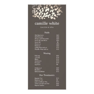 Silver Gold Leaves Beauty Salon Price List Menu Custom Rack Cards