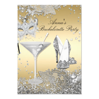 Silver Gold Mask Jewel Lace Bachelorette Party Card
