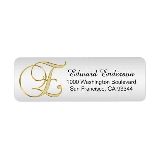 Silver Gold Monogram Letter 'E' Envelope Return Return Address Label