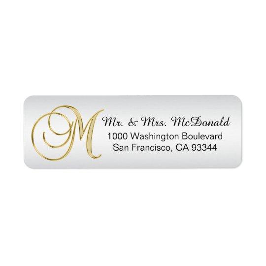 Silver Gold Monogram Letter 'M' Envelope Return