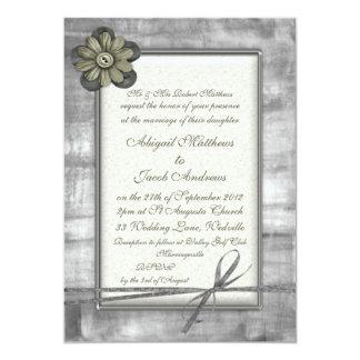 Silver & Gold Ribbon & Flower - Wedding Invitation