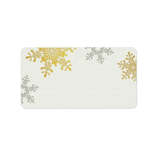 Silver Gold Snowflake Winter Wedding Blank Address Label