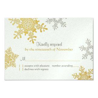 Silver Gold Snowflake Winter Wedding Reply Card 9 Cm X 13 Cm Invitation Card