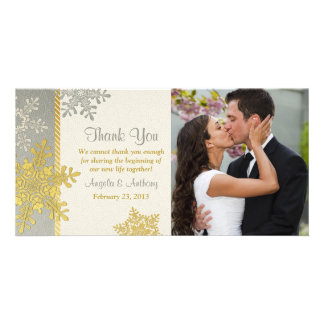 Silver Gold Snowflake Winter Wedding Thank You Photo Greeting Card