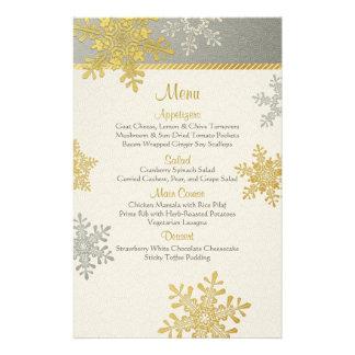 Silver Gold Snowflakes Winter Wedding Menu Card Custom Flyer
