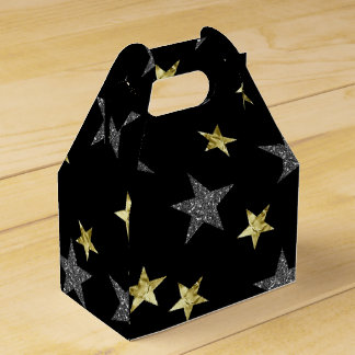 Silver & Gold Stars Black Hollywood Star Party Favour Box