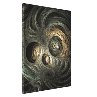 Silver & Gold Tunnels Fractal Art Canvas Print