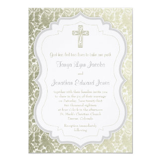 Silver Gold Vintage Damask Cross Christian Wedding Card
