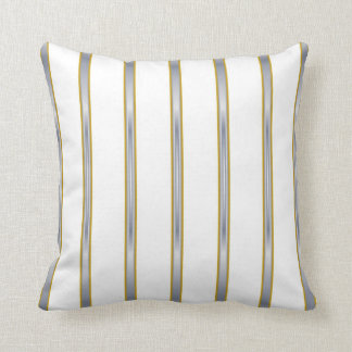 Silver Gold White Stripes Lumbar and Throw Pillows
