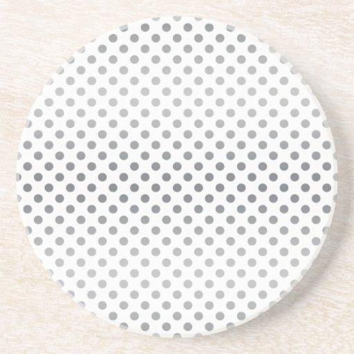 Silver Gradient Polka Dots Drink Coasters