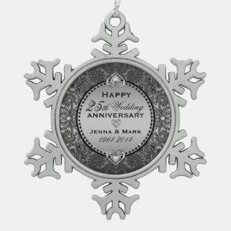 Silver Gray 25th Wedding Anniversary Pewter Snowflake Decoration