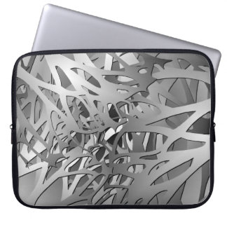 Silver & Gray Abstract Branches Laptop Sleeve