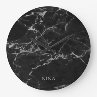 Silver Gray And Black Marble Stone Large Clock