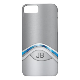 Silver Gray and Blue Metallic Look with Monogram iPhone 8/7 Case