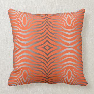Silver Gray And Orange Zebra Stripes Cushion