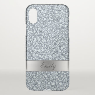 Silver Gray And White Encrusted Diamonds Glitter iPhone X Case
