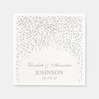 Silver Gray and White Wedding Confetti Pattern Disposable Serviette