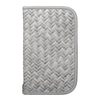 Silver Gray Basket Weave Geometric Pattern Folio Planner