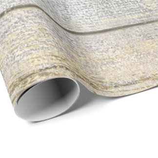 Silver Gray Beach Champaign Gold Wood Rustic Wrapping Paper