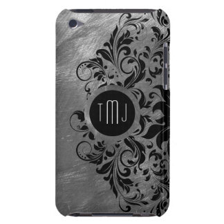 Silver Gray Brushed Steel & Black Lace Barely There iPod Case