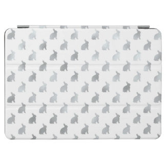 Silver Gray Bunny Background Faux Foil Grey iPad Air Cover