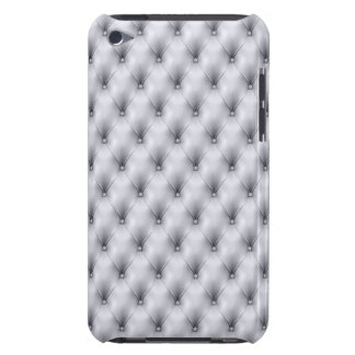 Silver Gray Buttoned Tuft Leather Plush Barely There iPod Cover