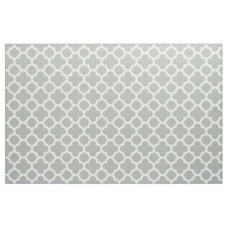 Silver Gray Classic Quatrefoil Pattern Fabric