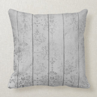 Silver Gray Damask Metallic Wood Cottage Home Cushion