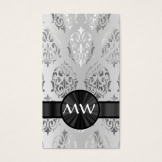 Silver gray damask monogrammed business card