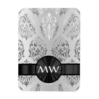 Silver gray damask monogrammed rectangular photo magnet
