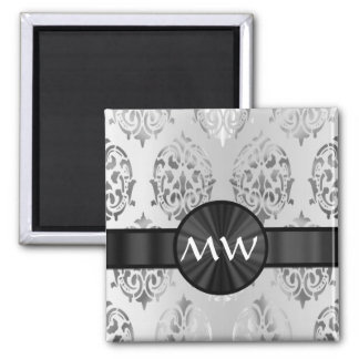 Silver gray damask monogrammed square magnet