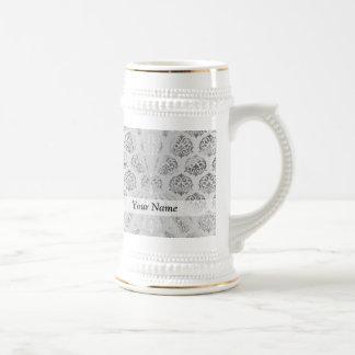 Silver gray damask pattern beer stein