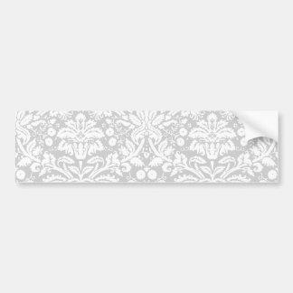 Silver gray damask pattern bumper sticker