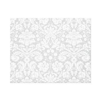 Silver gray damask pattern gallery wrap canvas