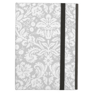 Silver gray damask pattern iPad air cover