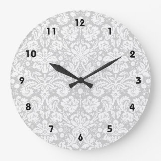 Silver gray damask pattern large clock