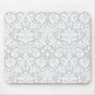 Silver gray damask pattern mouse pad