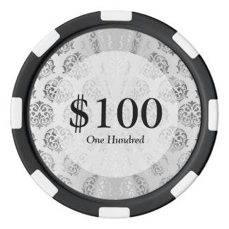 Silver gray damask pattern poker chips