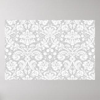 Silver gray damask pattern poster