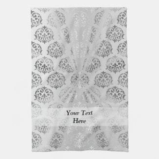 Silver gray damask pattern tea towel