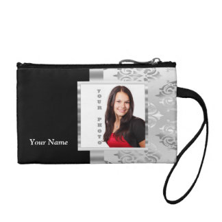 Silver gray damask photo template coin purse