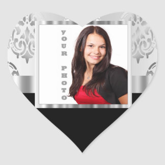 Silver gray damask photo template heart sticker