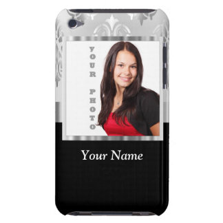 Silver gray damask photo template iPod Case-Mate cases