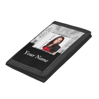 Silver gray damask photo template trifold wallet
