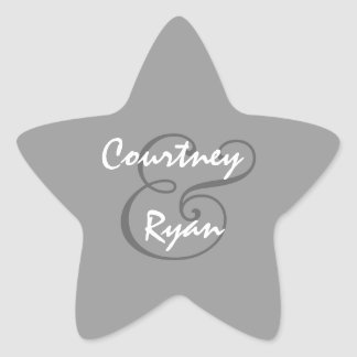 Silver Gray Envelope Seal Wedding Star Sticker