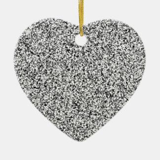Silver Gray Faux Glitter Ceramic Heart Decoration